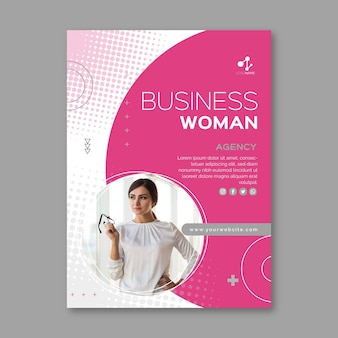Business woman flyer template