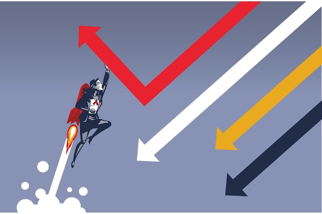 Business woman flying with rocket changing direction of falling arrow. illustration concept of single business person capable of changing business direction