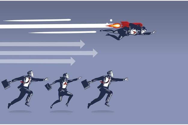 Деловая женщина, летящая с ракетой, становится быстрее, побеждая других в концепции иллюстрации гонки