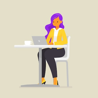Business woman or a freelancer works for a laptop, illustration in flat style