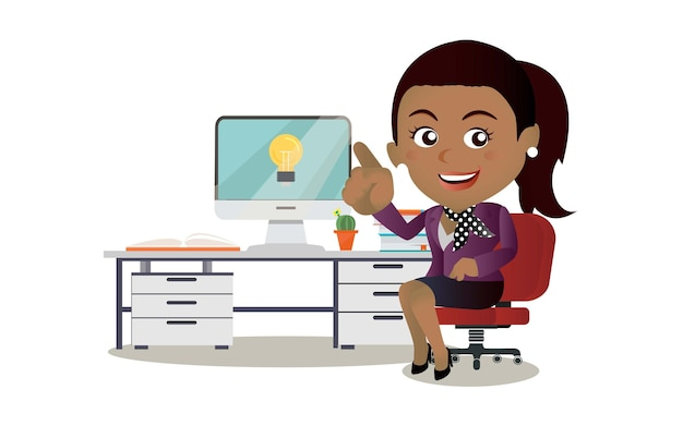 Business woman get idea illustration