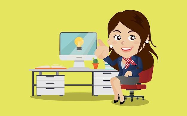 ビジネスの女性はアイデアのイラストを取得します