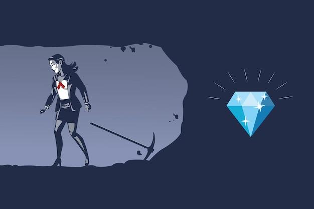 ビジネスウーマンは貴重なダイヤモンドを知らずに掘ることをあきらめるブルーカラーイラストコンセプト