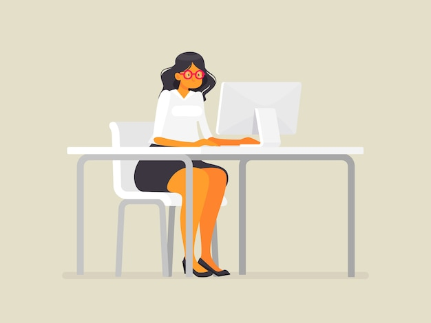 Business woman in glasses at the desk. work at the computer, illustration in flat style