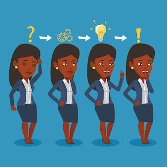 Business woman having idea vector illustration.
