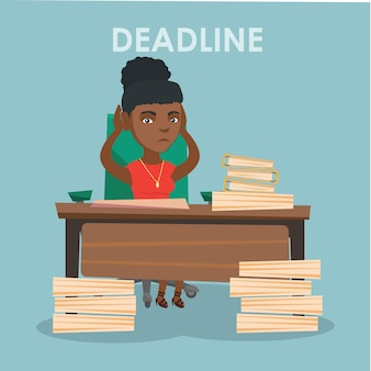Business woman having problem with deadline.