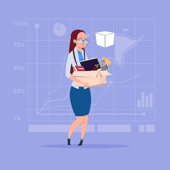Business woman hold box with office stuff