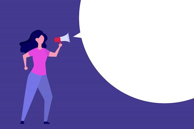 Business woman hold loud speaker or megaphone.