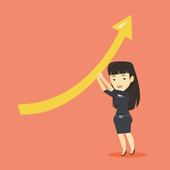 Business woman holding arrow going up.