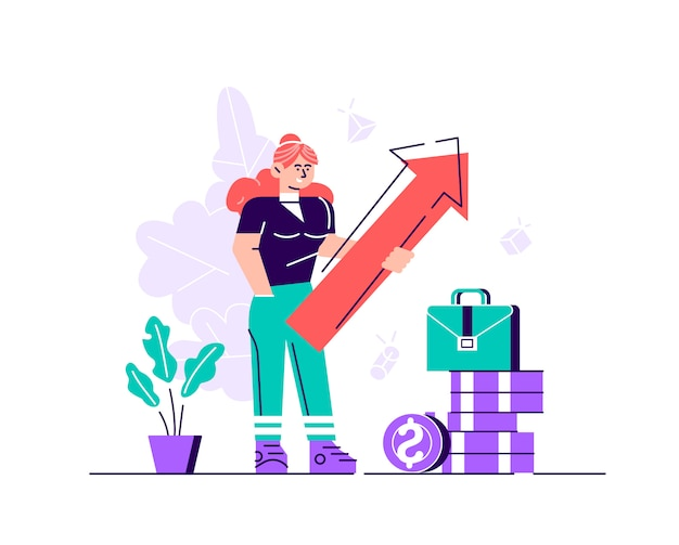 Business woman holding arrow pointing right up indicating success. flat style modern design  illustration for web page, cards, poster, social media.