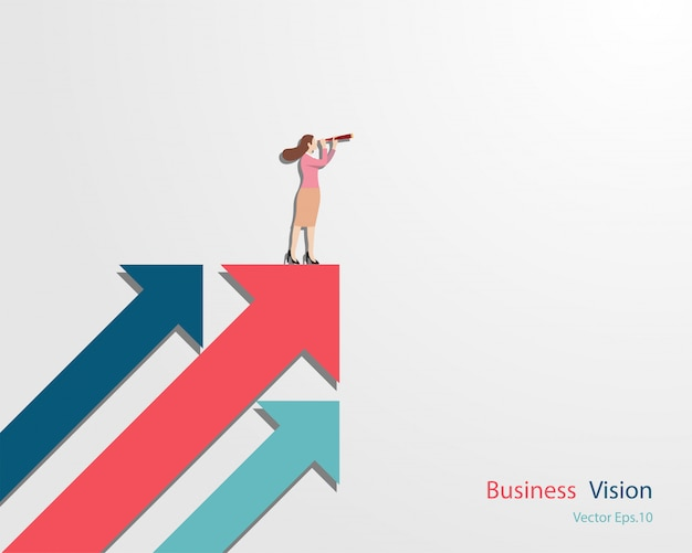 Business woman holding binocular standing on arrow looking up to success goal