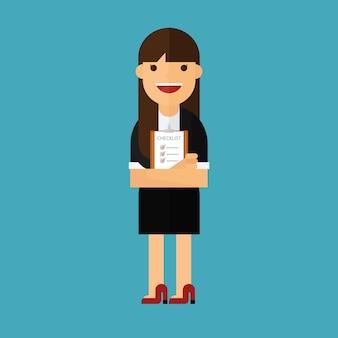Business woman holding clipboard on background
