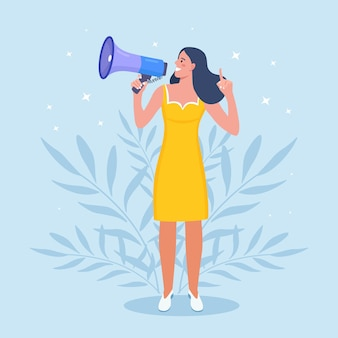 Business woman holding megaphone and shouting through it. announcement of good news. attention please. speaker with loudspeaker, bullhorn. advertising and promotion. social media marketing