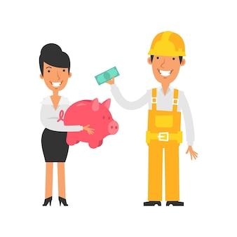 돼지 저금통을 들고 웃고 있는 비즈니스 우먼 빌더는 지폐와 미소 벡터 문자를 보유하고 있습니다.