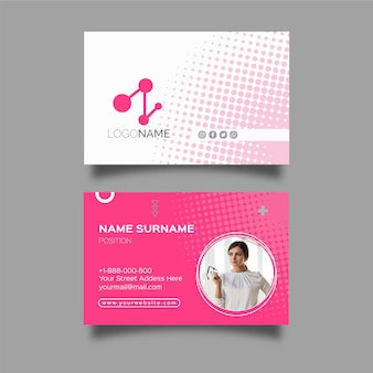 Business woman horizontal business card template