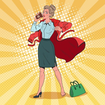 Business woman hurries to work