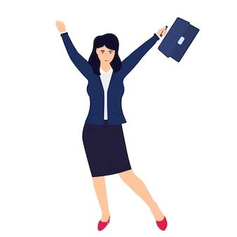 Деловая женщина в костюме и с чемоданом в руке.