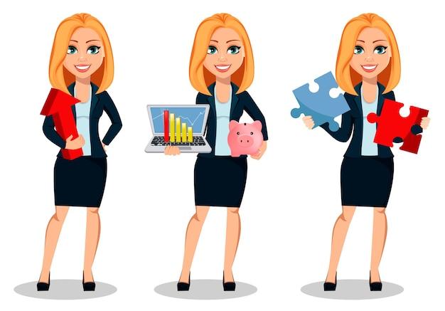 オフィススタイルの服を着たビジネスウーマン、3つのポーズのセット