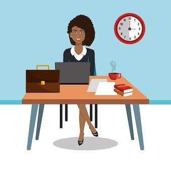 작업 영역에서 비즈니스 여자 격리 아이콘 디자인, 벡터 일러스트 그래픽