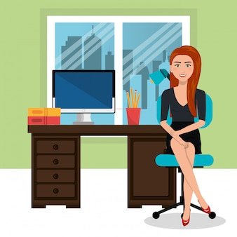 ワークスペース、ビジネス、女、隔離された、アイコン、デザイン