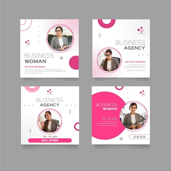 Business woman instagram posts template