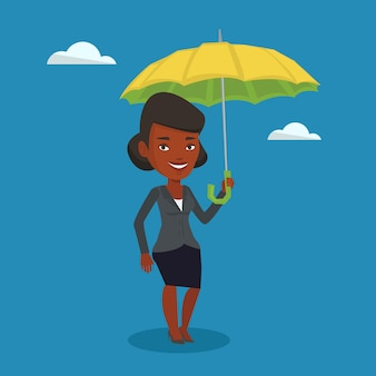 Business woman insurance agent with umbrella.