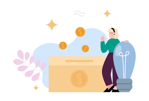 Business woman investing in good idea cartoon vector illustration isolated
