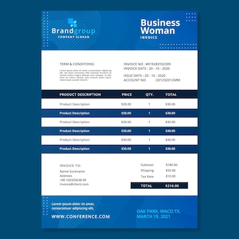 Business woman invoice template