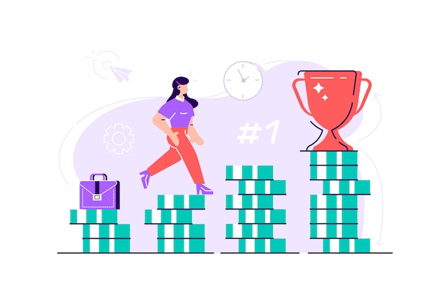 Business woman is climbing stairs from stacks of coins toward his financial goal. personal investment and pension savings concept. flat style modern design  illustration for web page, cards