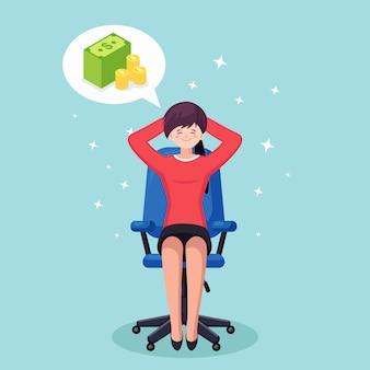 Деловая женщина расслабляется и мечтает о стопке денег, валюты. финансы, инвестиции, богатство
