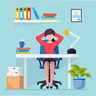 Business woman is relaxing and dreaming about something at office chair workplace