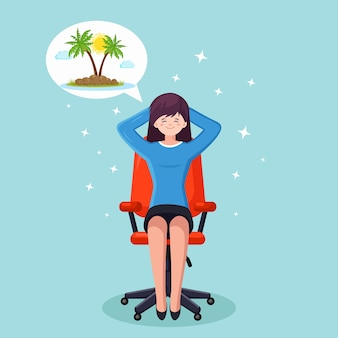 Business woman is relaxing and dreaming about vacation on a tropical island at office chair