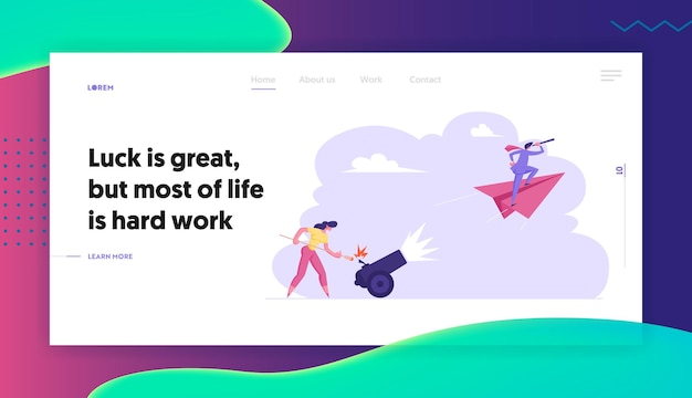 Business woman is setting on fire the cannon concept landing page set