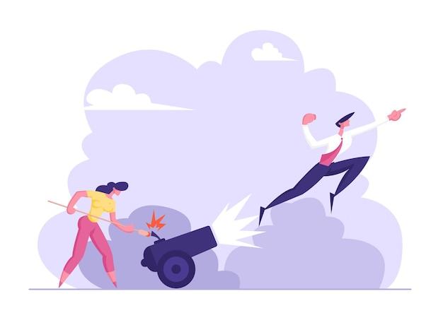 Деловая женщина поджигает пушку с бизнесменом иллюстрации