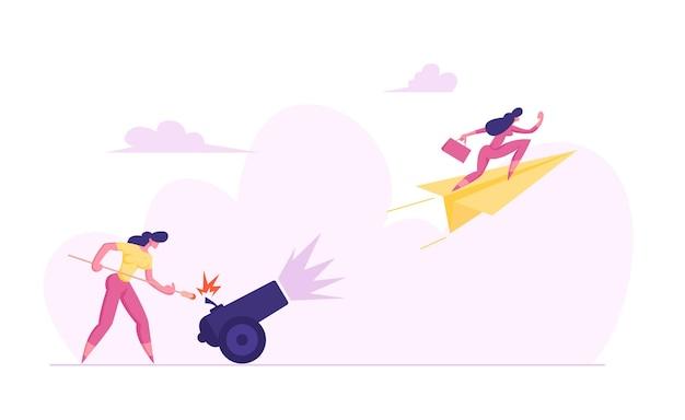 ビジネスウーマンは、実業家のイラストで大砲に火をつけています
