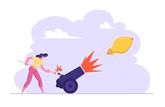 ビジネスウーマンは、電球のアイデアシンボルイラストで大砲に火をつけています
