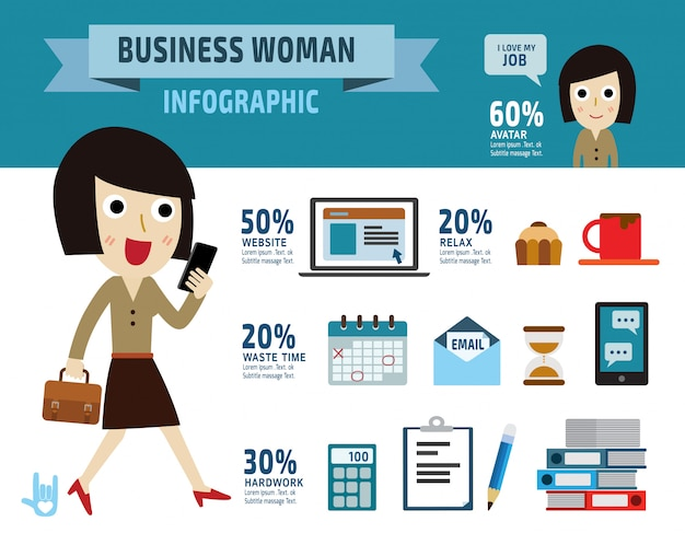 Business woman. item collection flat elements design illustration - vector