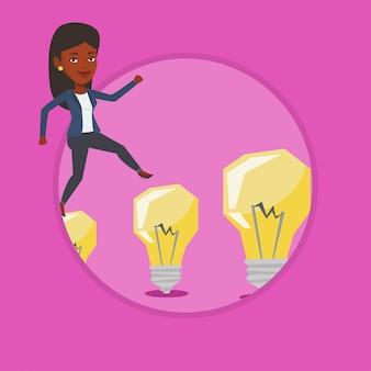 Business woman jumping on light bulbs.