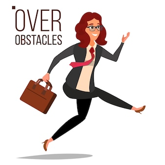 Business woman jumping over obstacles