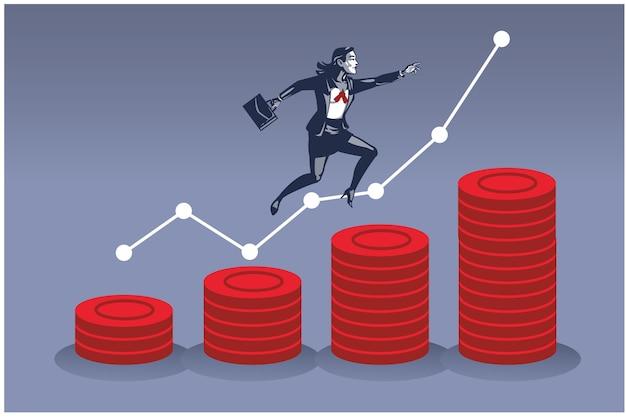 동전 더미 위로 점프하는 비즈니스 우먼. 금융 개발의 비즈니스 일러스트 컨셉