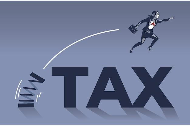税のテキストを飛び越えるビジネスウーマンブルーカラーの概念図