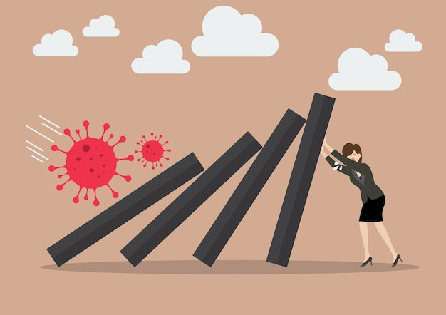 비즈니스 여성 리더가 covid-19 바이러스로 인한 경제 붕괴에 빠진 도미노 타일을 밀어 붙입니다. 비즈니스 컨셉