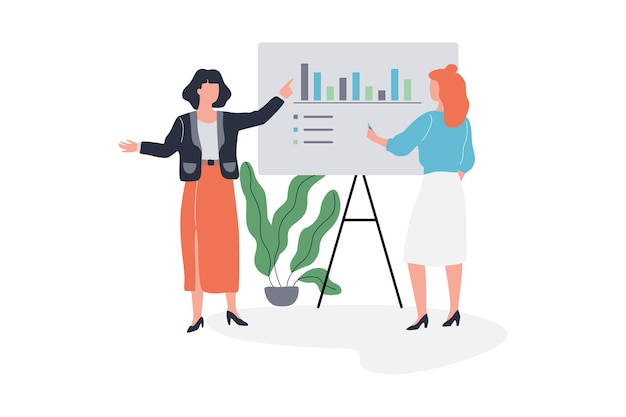 Business woman make presentation with graph and chart