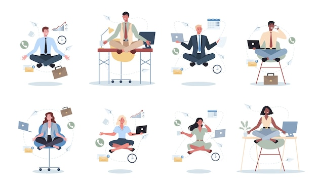 Business woman and man in lotus pose set.