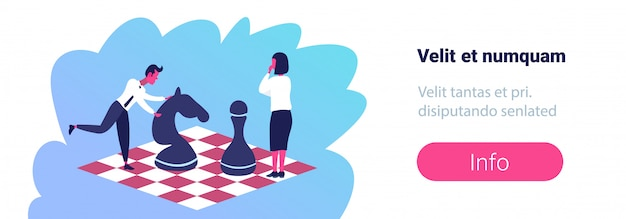 Business woman man playing chess standing chessboard strategy business tactics career competition