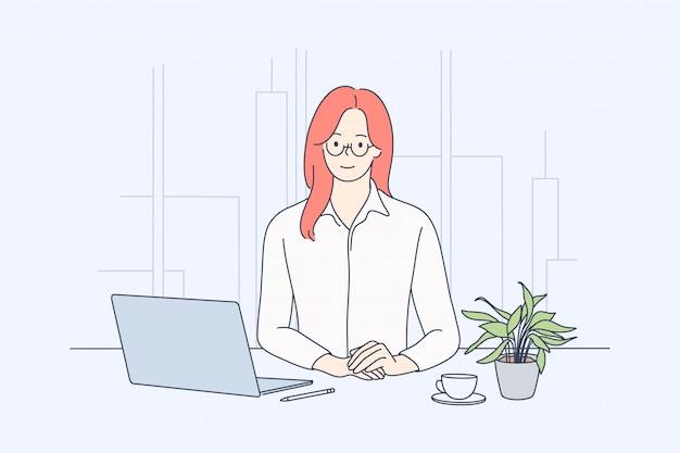 Бизнес, женщина менеджер в офисе концепции.