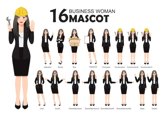 Business woman mascot in black suit, cartoon character style poses set  illustration