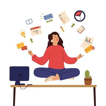 ビジネスウーマンは瞑想します。落ち着いた感情、癒しの心と体をオフィスで。女の子はストレスヨガ瞑想、バランスベクトルの概念を制御します。意識を行使し、瞑想してリラックスし、オフィスのイラストで落ち着いてください