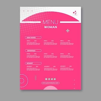 Modello di menu donna d'affari