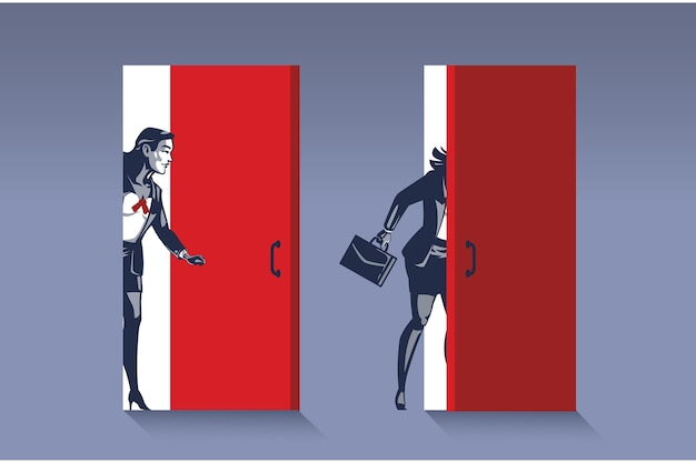 Business woman opens door. business illustration concept of new business opportunity